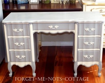 CUSTOM PAINTED Vintage Double Pedestal Desk/ Vanity, French Provincial Shabby Chic