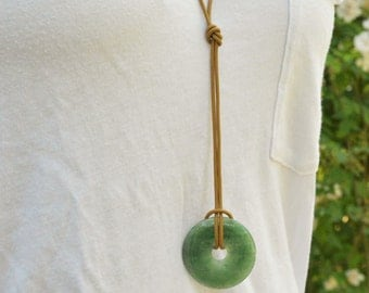 HANDMADE Necklace with Green Jade Donut Pendant