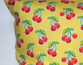 Picking Cherries Pillow Cover, Throw Pillow, Spring Pillow Cover, Summer Pillow Cover, Cherries, Whimsical, Envelope Closure, Polka Dots Red