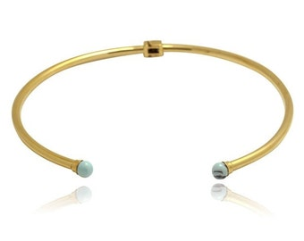 Turquoise Stainless Steel Choker - 24K Gold Plated