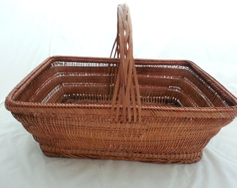 Vintage Large Rectangle Gathering Basket Woven Bamboo Reed with Handle