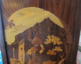 Wooden Marquetry Inlay Woman Carrying Water on Head