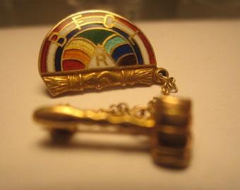 Order of the Rainbow for Girls Worthy Advisor Pin 1963 10K