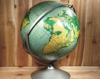 "Vintage 16""  Pictorial Relief Globe From A.J.Nystrom Co."