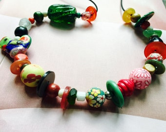 Vintage Button Handmade Colorful Glass Wood Beads Necklace