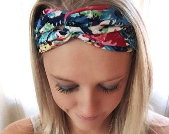 Blue Floral Twist Yoga Headband