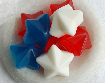 Patriotic Stars Soap, Glycerin Soap, Melt and Pour Soap, Red White Blue, Fourth of July, Gift Soap, Novelty Soap, Party Favors, Vegan Soap