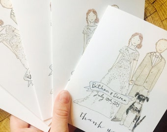 Wedding Thank You Cards // Wedding Invitation // Wedding stationery // Custom portrait save the date