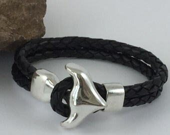 Black Braided Double Strand Leather Bracelet with Chunky Anchor Clasp, Leather Bangle, Silver Clasp and Black Leather,Men's Leather Bracelet