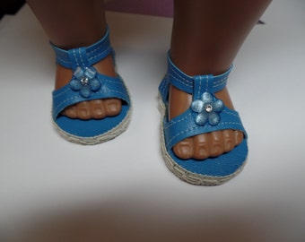 "Blue -Sandals-- for 18"" Dolls--Shown on my American Girl Doll"