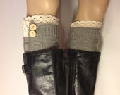 Crochet lace boot cuffs with two buttons, Knitted Boot Toppers,  Womens leg warmers, Grey Color  boot cuffs