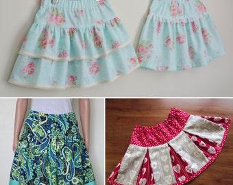 Milkshake Skirt 000-16 Girls Twirly Skirt packed with options! Pleated, Ra-Ra, Sunshine, Ruffle, Bow and Twirly Styles! Metric & Imperial