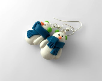 Snowman Earrings, Winter Earrings, Christmas Earrings