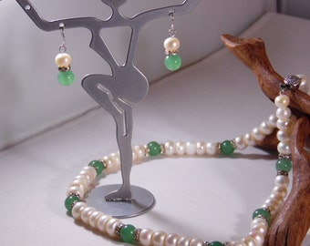 Freshwater Pearl Green Jade Rhinestone Rondelles Necklace and Earrings Set-1970