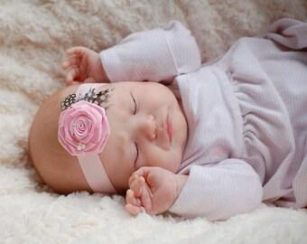 Baby Rosette Headband, Baby Headband,Pink Rosette Headband, Baby Feather Headband, Pink Headband