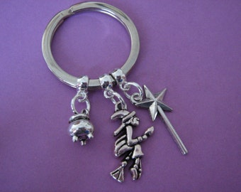 Wicked Witch Keyring Cauldron Wand Wicked Keychain