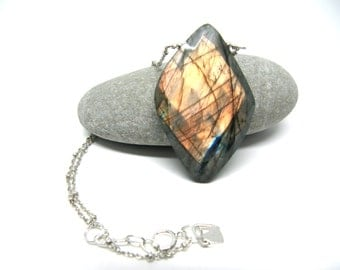 Rowan: faceted labradorite and sterling silver necklace