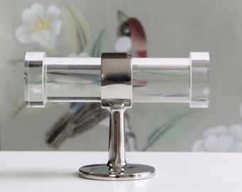 Double Lucite Robe Hook -  Polished Brass, Polished Nickel, Chrome