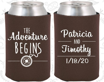 Chocolate Brown Wedding, Can Coolers, Chocolate Brown Wedding Favors, Chocolate Brown Wedding Gift, Chocolate Brown Party Favors (289)
