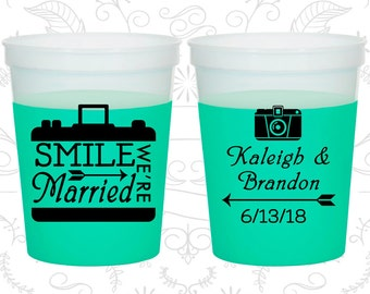 Smile We are Married, Cheap Mood Cups, Arrow Wedding, Wedding Party, Camera, Green Mood Cups (361)