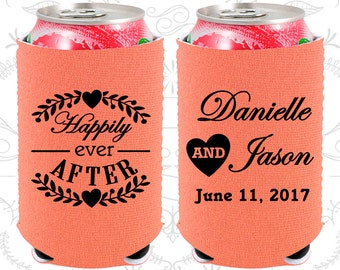 Happily Ever After, Neoprene Wedding, Floral Wedding, Heart, Neoprene Wedding Favors (274)