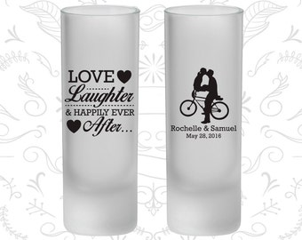 Love Laughter, Frosted Tall Shot Glasses, Bicycle, Love Wedding, Romantic Wedding (376)