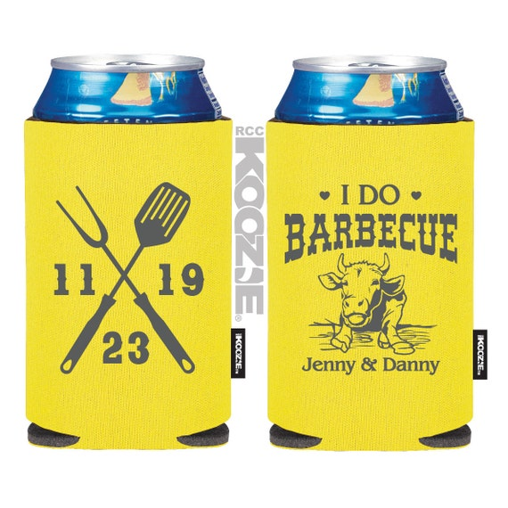 Wedding koozie r i do bbq favors bbq wedding by myweddingstore for Beer koozie wedding favors