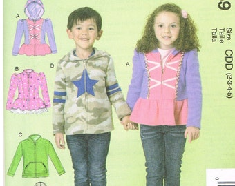 McCall's M7239, Sewing Pattern,Girl's and Boy's Jackets, Sizes 2, 3, 4, 5,