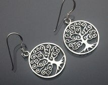 925 Solid Sterling Silver TREE OF LIFE Earrings/Hook/Dangling/Polished