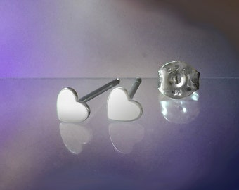 925 Solid Sterling Silver HEART #2 Earrings- Small- Oxidized- Studs