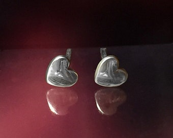 925 Solid Sterling Silver HEART #3 Earrings- Small- Oxidized- Studs