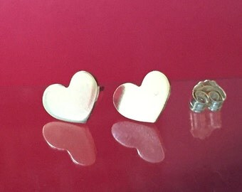 925 Solid Sterling Silver HEART #1 Earrings- Small- Oxidized- Studs