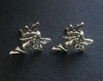 925 Solid Sterling Silver FAIRY Stud Earrings/Fairy Earrings/Fairy Jewelry/Fantasy Jewelry /Oxidized/Fairy Stud Earrings/Oxidized