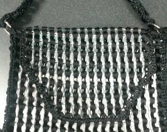 Black Soda Tab Purse, handmade, hand-sewn, black string, soda tabs, bottle tops, purse, accessories