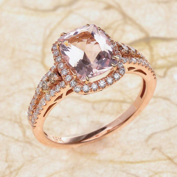Rose Gold Engagement Ring with 10x7 Radiant Cut Peach Pink Morganite 14k Solid Rose Gold