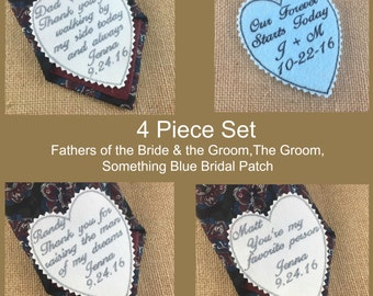 4 Piece Wedding Tie Patches - Groom, Father of the Bride, Father of the Groom, Something Blue,  Iron On Tie Patches, Sew On Tie Patches