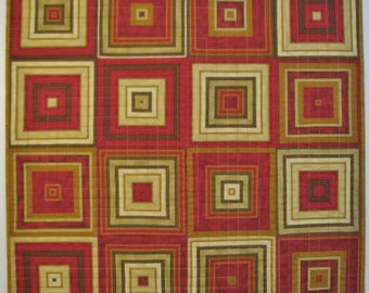Quilted Wall Hanging, Modern Squares Art Quilt, Red/Brown/Gold/Beige , Quiltsy Handmade