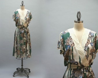 Brazilian Silk Dress - Vintage 90s Floral Print Faux Wrap Dress With Belt 20s 30s Style Print Made in Brazil Day Dress Size M L