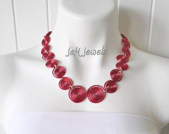 Spiraled Fire Hand Hammered Necklace
