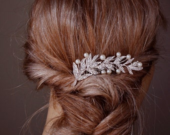Floal leaf&pearl Hair Comb, Crystal hair comb, Rhinestone hair comb,Silver, Side hair comb, Petite hair comb