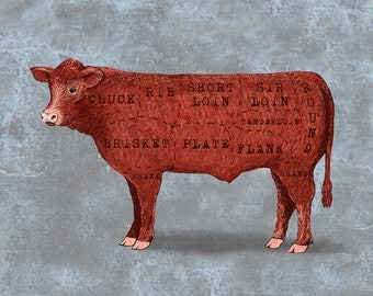 Cow Meat Cut Print