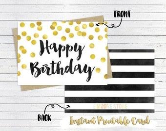 Printable Birthday Card- Instant Download, Printable 5x7 Card, Printable Card, Gold Confetti, Black & White Stripes, Friend Birthday