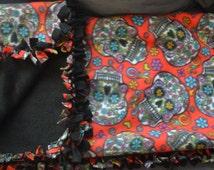 El Dia de los Muertos Tie Blanket, Sale, Gift Idea
