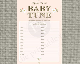 "Printable  ""Name that Baby Tune"" Baby Shower Game 