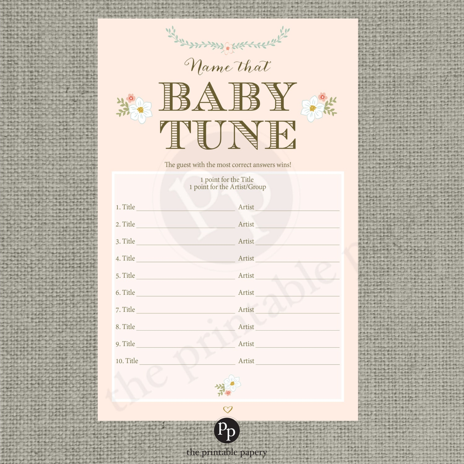 Baby Shower Games: Printable Name That Baby Tune Baby Shower Game