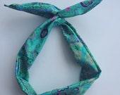 Wire Headband- Aqua Floral