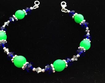 Bright Green & Blue, Sterling Silver, Crystal Bracelet (B16)