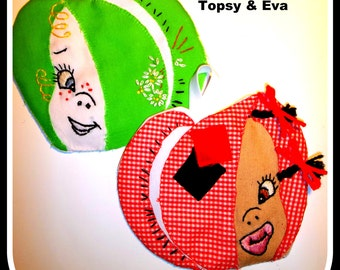 Vintage Topsy Turvy Potholders - To Embroider And Applique - Eva And Topsy - On Instant Download