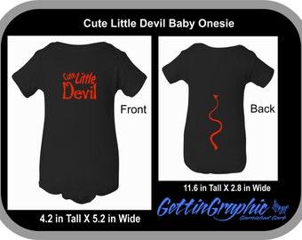 Cute Little Devil Baby Onesie. 2-sided baby onesie. Cute little Devil Graphic on Front, Devil Tail on back.