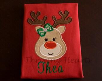 Custom Personalized Reindeer Shirt for Christmas. Boy or Girl Reindeer!